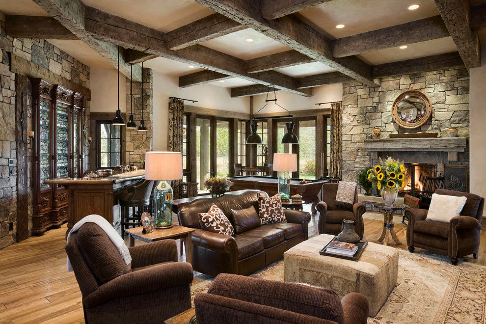 Basement Beams Family Room Rustic With Coffered Ceiling Wet Bar