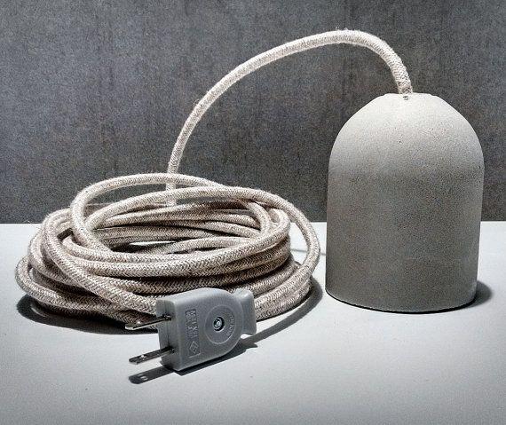 Beton Lampe Mit Stecker Steckdose Draht Gewebe Zement Und Elektrischen