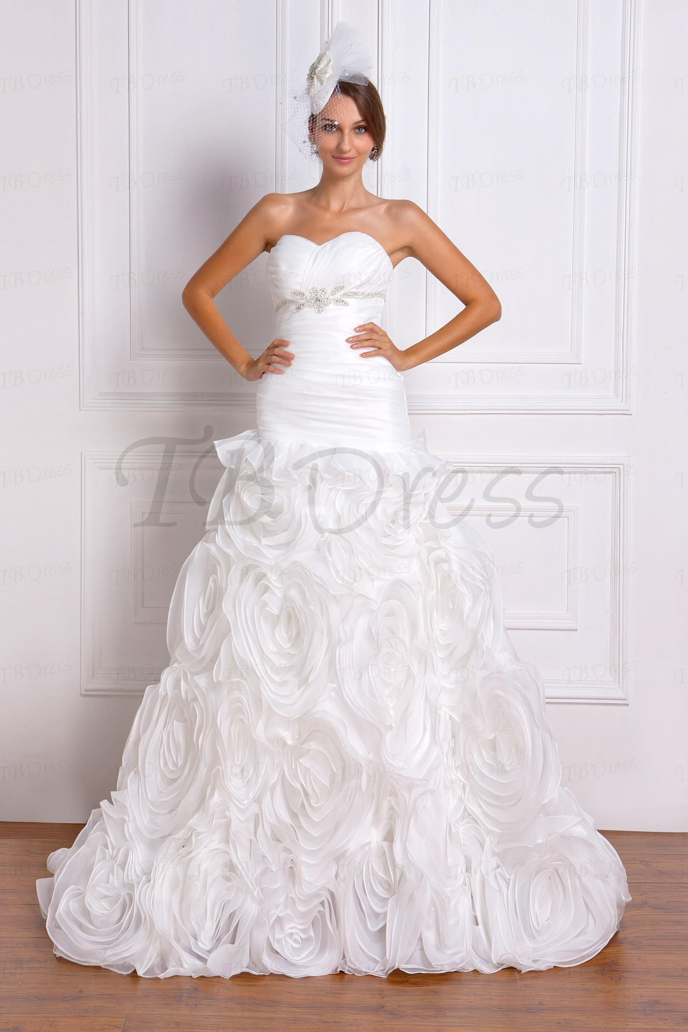 Trumpet Sweetheart Floral Pleats Wedding Dress