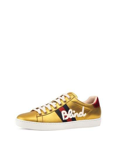 974788af6 GUCCI ACE BLIND FOR LOVE METALLIC TRAINER. #gucci #shoes # | Gucci ...