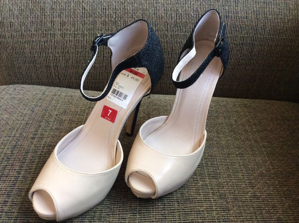 59bc56a10e8c7 New BCBGeneration Lin Peep Toe Ankle Strap Pump High Heels Size 7M Nude  Black  BCBGeneration  AnkleStrap