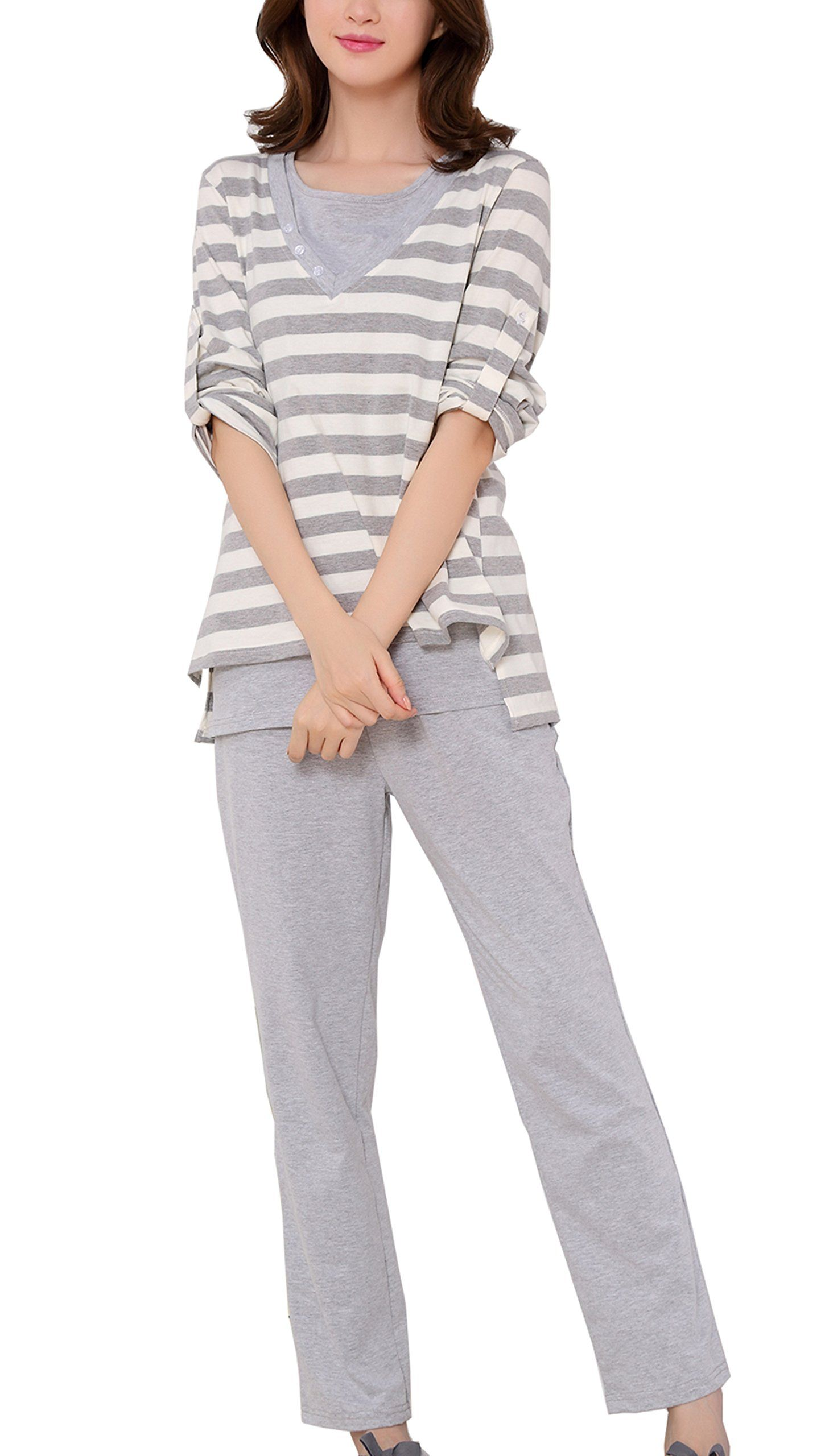 48f8a1e0050 nursing tops - Epmami Womens Nursing Pajamas 3 Piece Set Maternity  Breastfeeding Pajamas/PJS Sets Gray Small >>> Click image for even more  information.