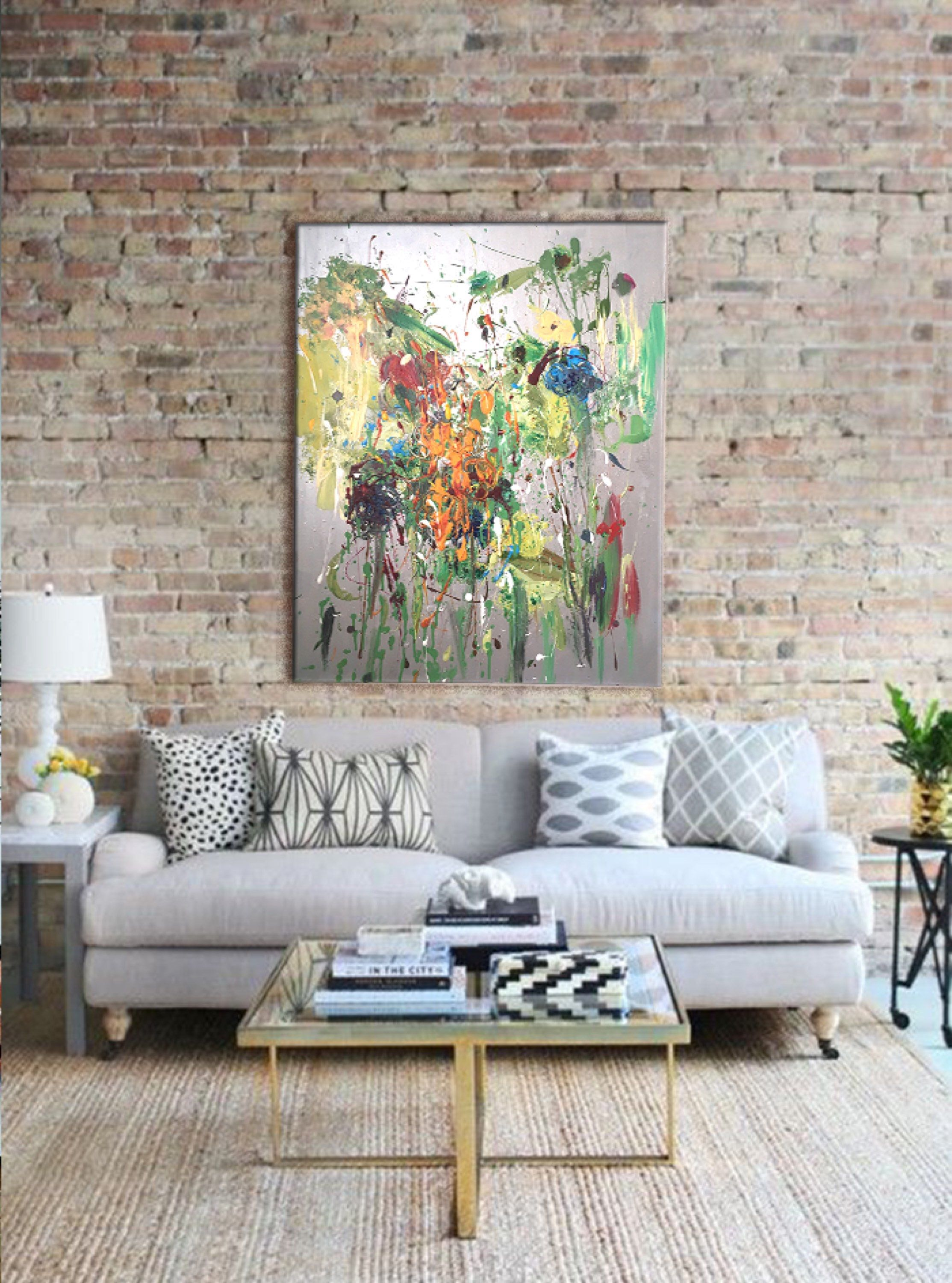 Abstract Painting Iridescent Silver Contemporary Art