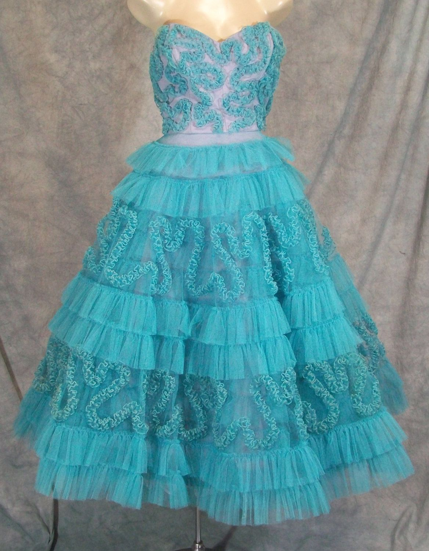 Vintage 1950s STRAPLESS NET DRESS Circle Skirt Retro Rockabilly Prom ...