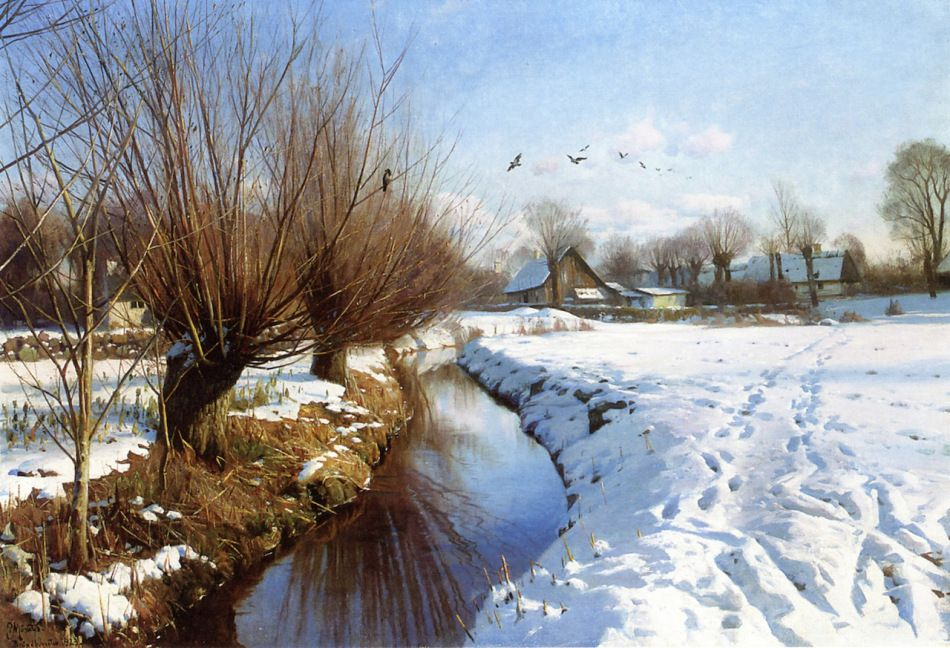 Peder Mørk Mønsted – private collection. Winter in Brøndbyvester (1923)