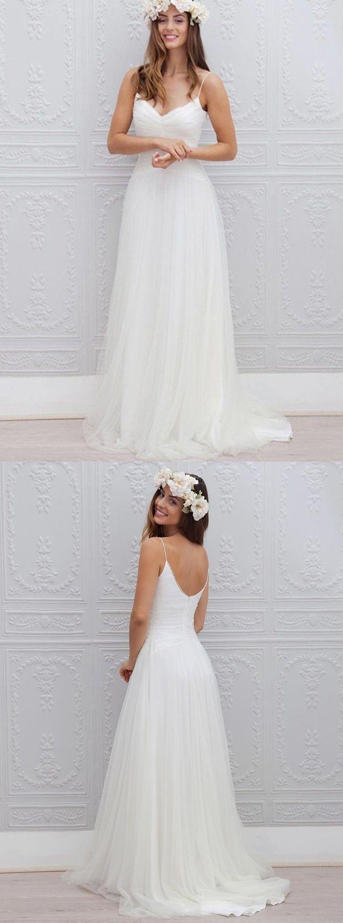 Beach wedding dressesopen back wedding dressesspaghetti strap