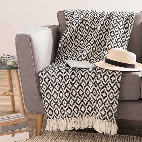 plaid ethnique noir et blanc graphique essaouira maisons du monde ma chambre cosy parfaite. Black Bedroom Furniture Sets. Home Design Ideas