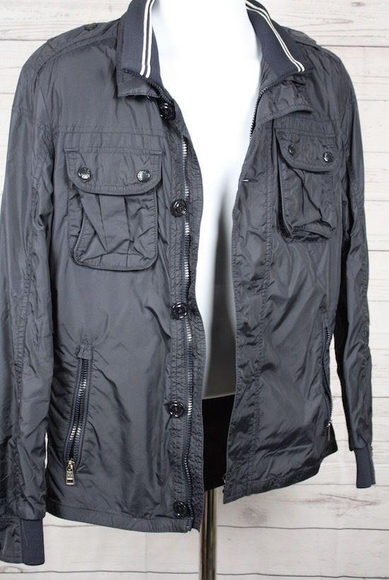 763b9b8a Moncler Men's Navy Blue Mate Nylon Lightweight Field Jacket Coat ...