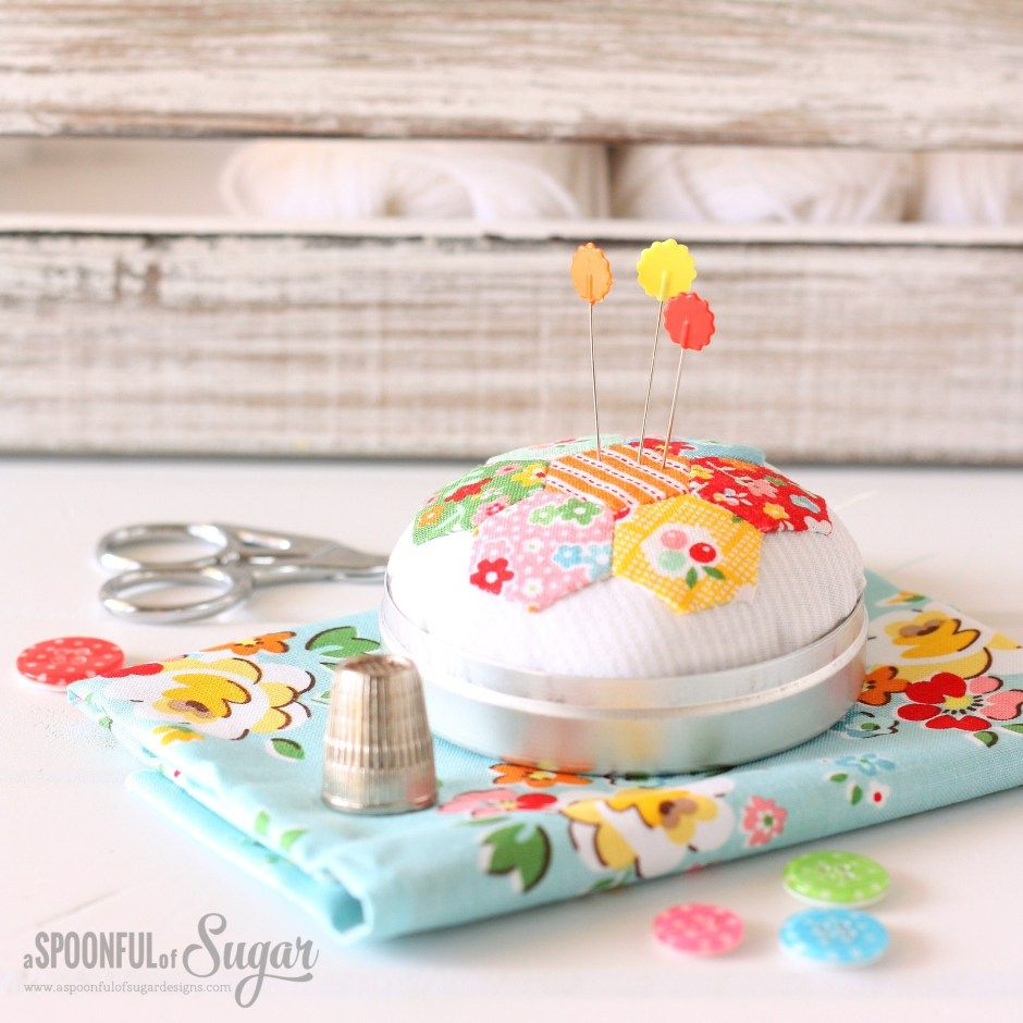 Hexie Pincushion Sewing Tutorial by A Spoonful of Sugar | Pin ...