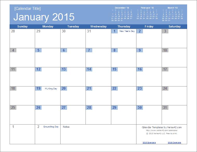 year calendar 2015 excel