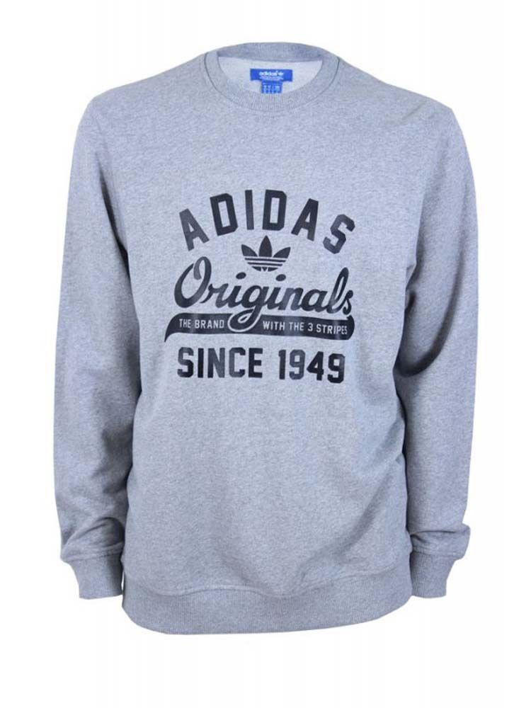 4aee9d6c528 Adidas Originals Men s Graphic Crew Neck Pullover Sweater-Heather Gray   adidas  Hoodie