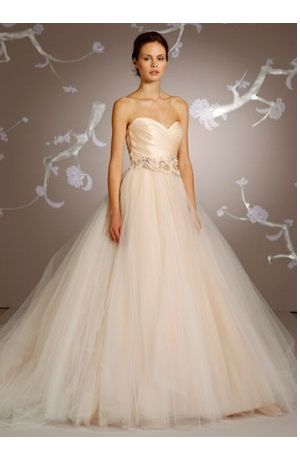 Gorgeous Satin And Tulle Champagne Blush Sweetheart Bridal Dress