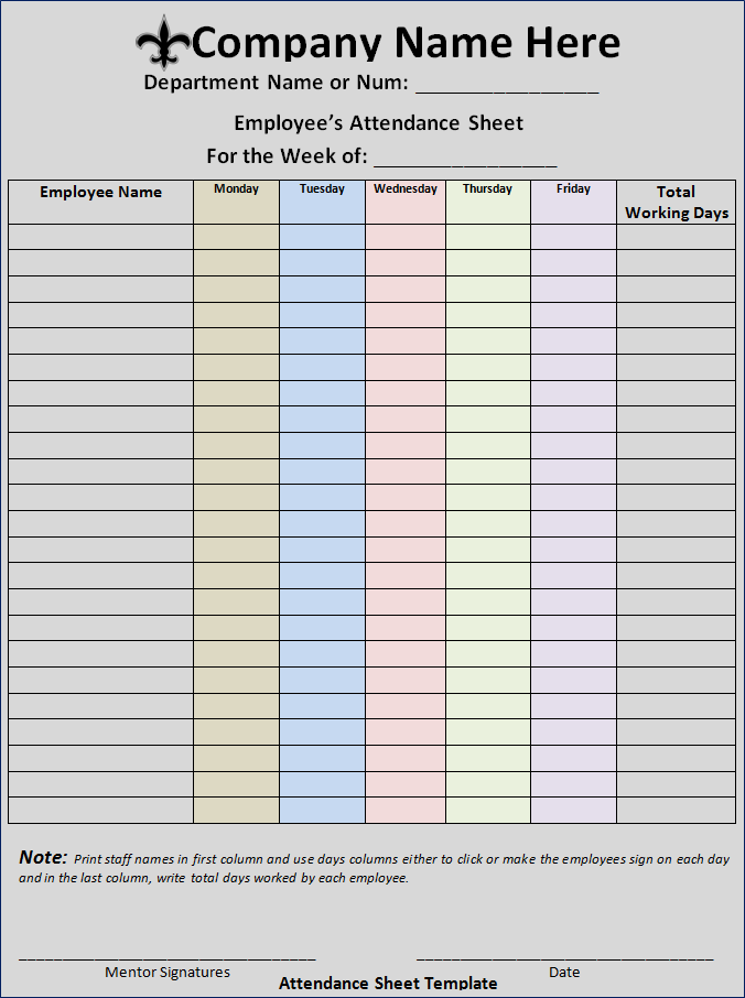 Attendance Sheet Template  Free Word Templates An Attendance