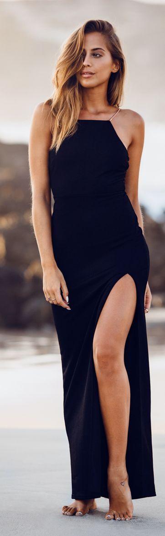 Black, High-slit Maxi Dress