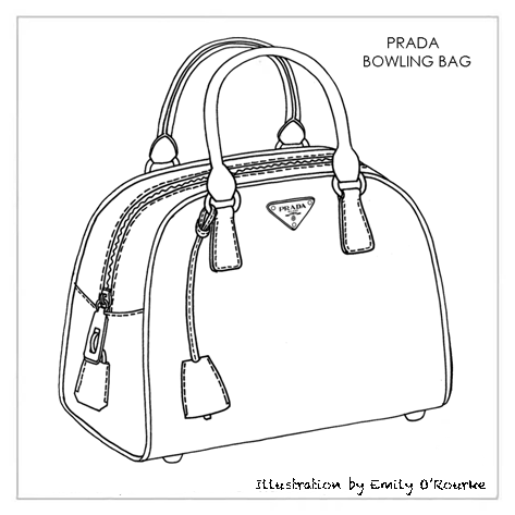 PRADA -BOWLING BAG - Designer Handbag Illustration / Sketch / Drawing / CAD / Borsa Disegno