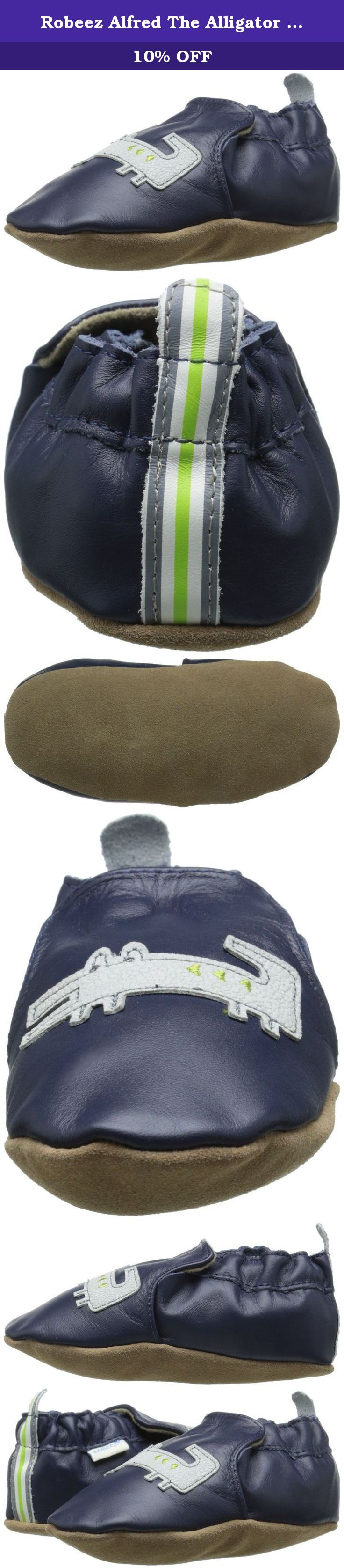 Robeez Alfred The Alligator Crib Shoe (Infant), Navy, 0-6 Months M US Infant. Robeez Alfred The Alligator (Inf/Tod) - Navy The best shoes mimic bare feet, by supporting - not constricting - tiny, growing feet. Robeez Soft Soles flex and bend with every step. They promote good balance and unrestricted growth, while protecting little feet from our big world. Features: Perfect shoes for Infants, Babies, Pre-Walkers and Toddlers - See more at:...