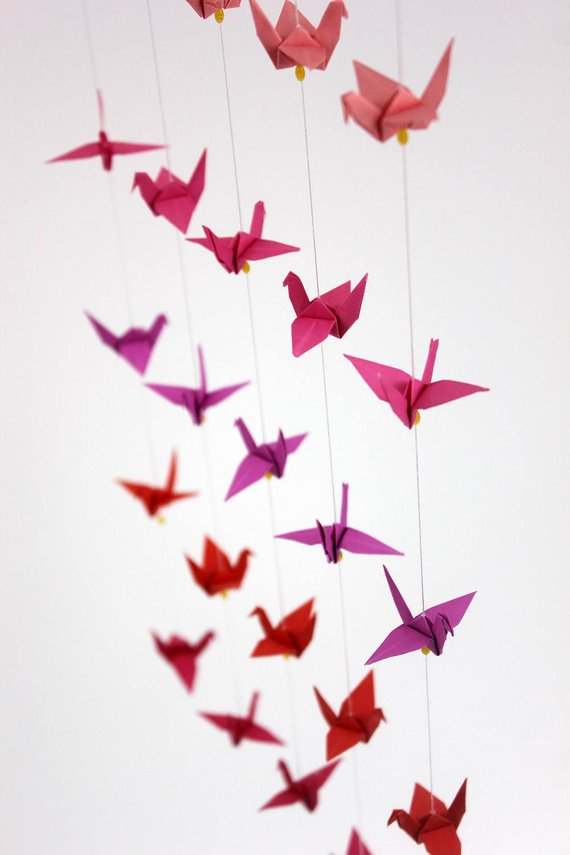 Photo of Nursery Hanging Strings Baby Crib Mobile Mini Origami Paper Crane Shades Color Cot Strand Small Cranes Mobiles