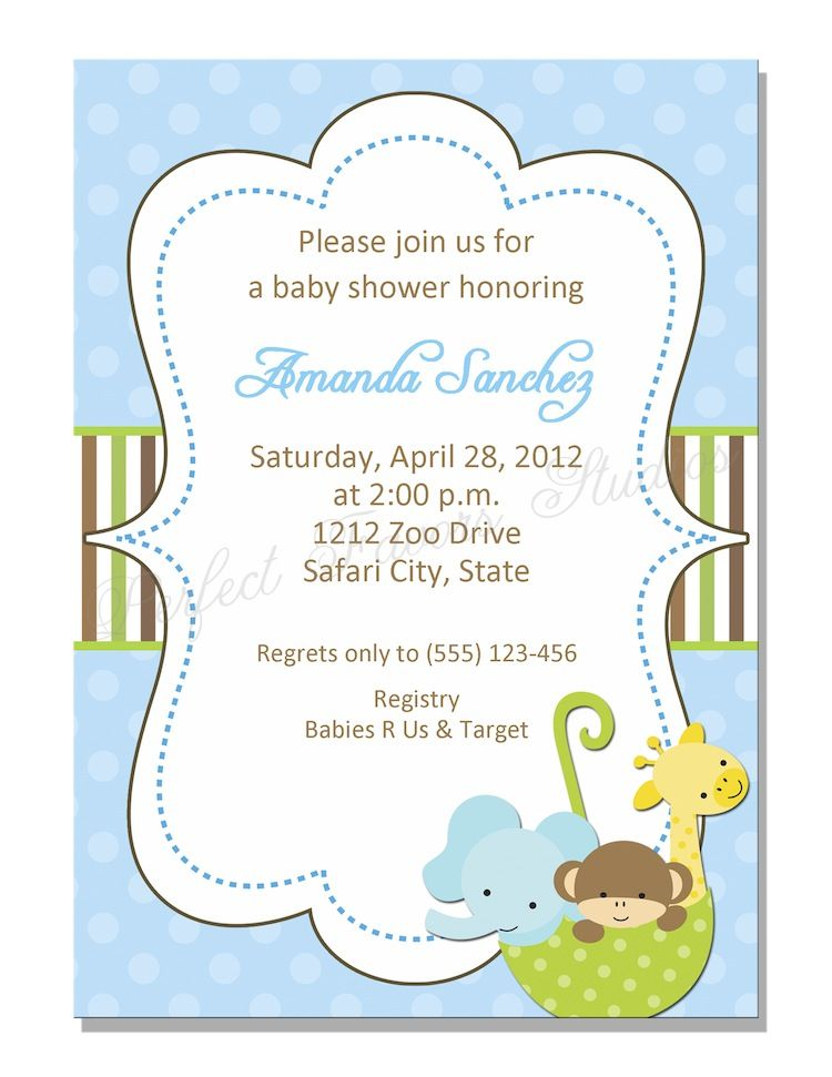 Baby Zoo Animals in Umbrella Baby Shower Invitation   Baby Shower ...