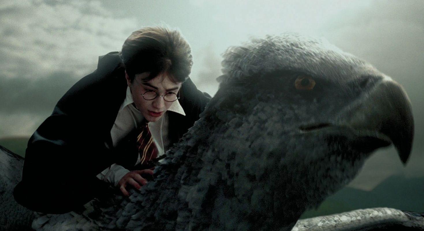 Harry Flying With Buckbeak The Hippogriff In Potter And Prisoner Of Azkaban