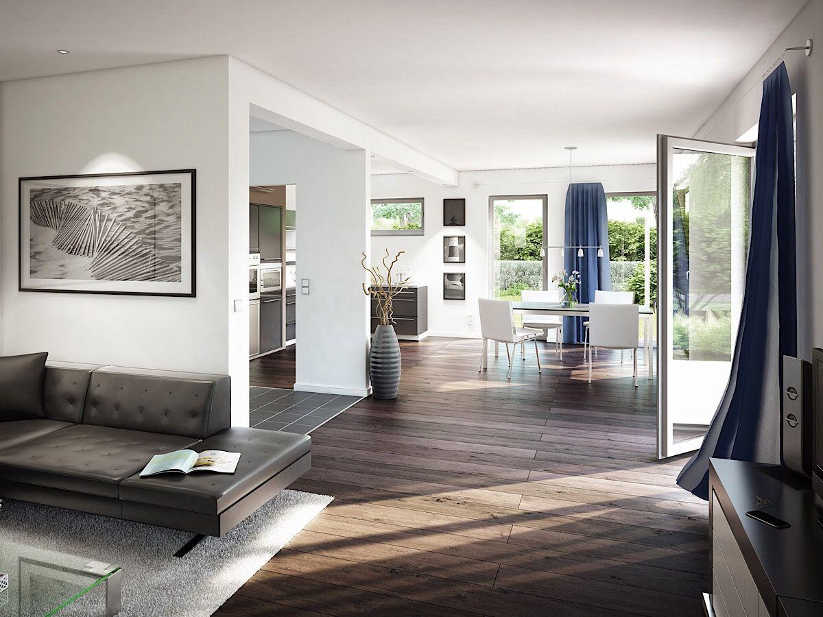 Offenes Wohnzimmer modern mit Essbereich
