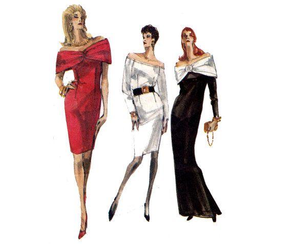 80s Prom Dress pattern Vogue 7357 Shawl Collar draped neck Cocktail ...