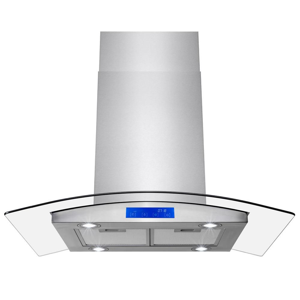 Golden Vantage 36 In 343 Cfm Convertible Island Mount Range Hood In Stainless Steel With Leds Touch Panel And Carbon Filters Rh0358ds The Home Depot Range Hood Stainless Steel Island Kitchen Vent