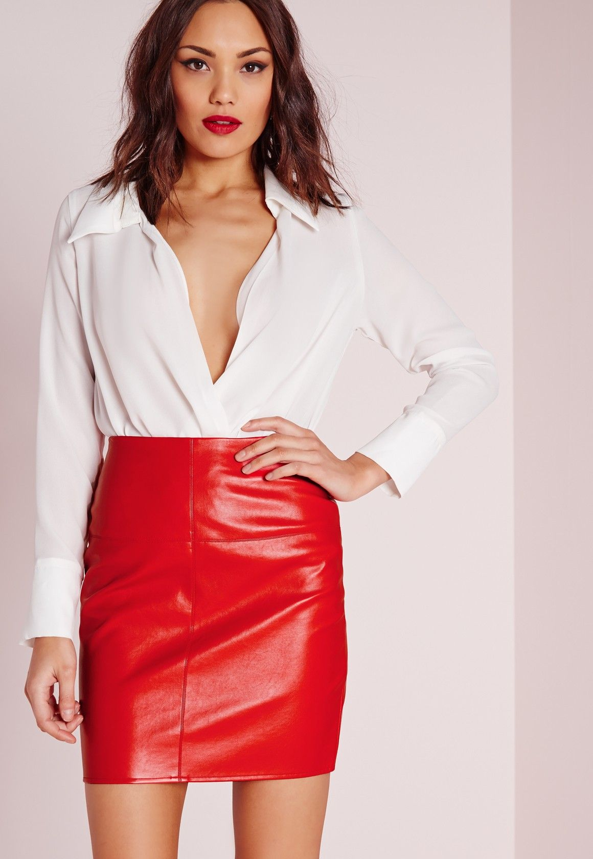dd2780b6c8be4 Missguided - Tall Faux Leather Mini Skirt Red