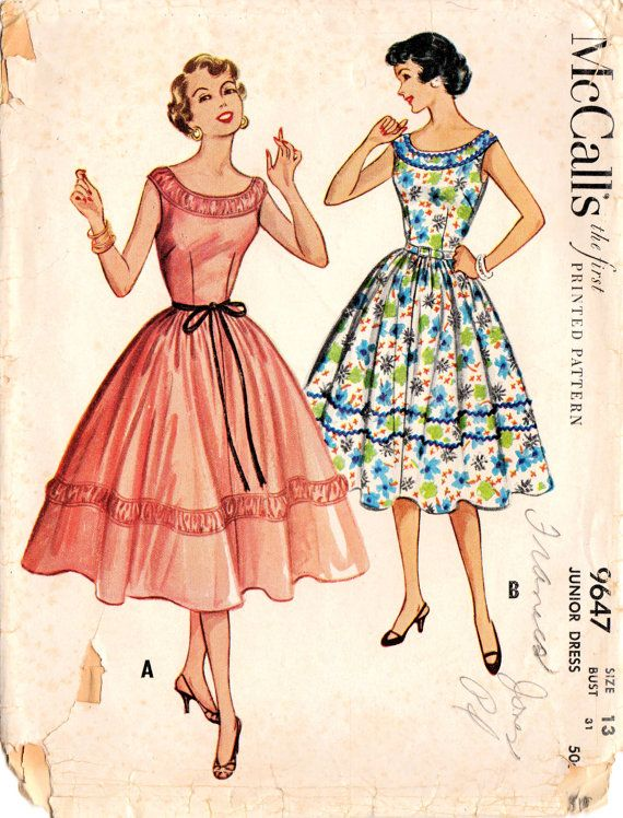 1950s McCall\'s 9647 Vintage Sewing Pattern Junior Party Dress Prom ...