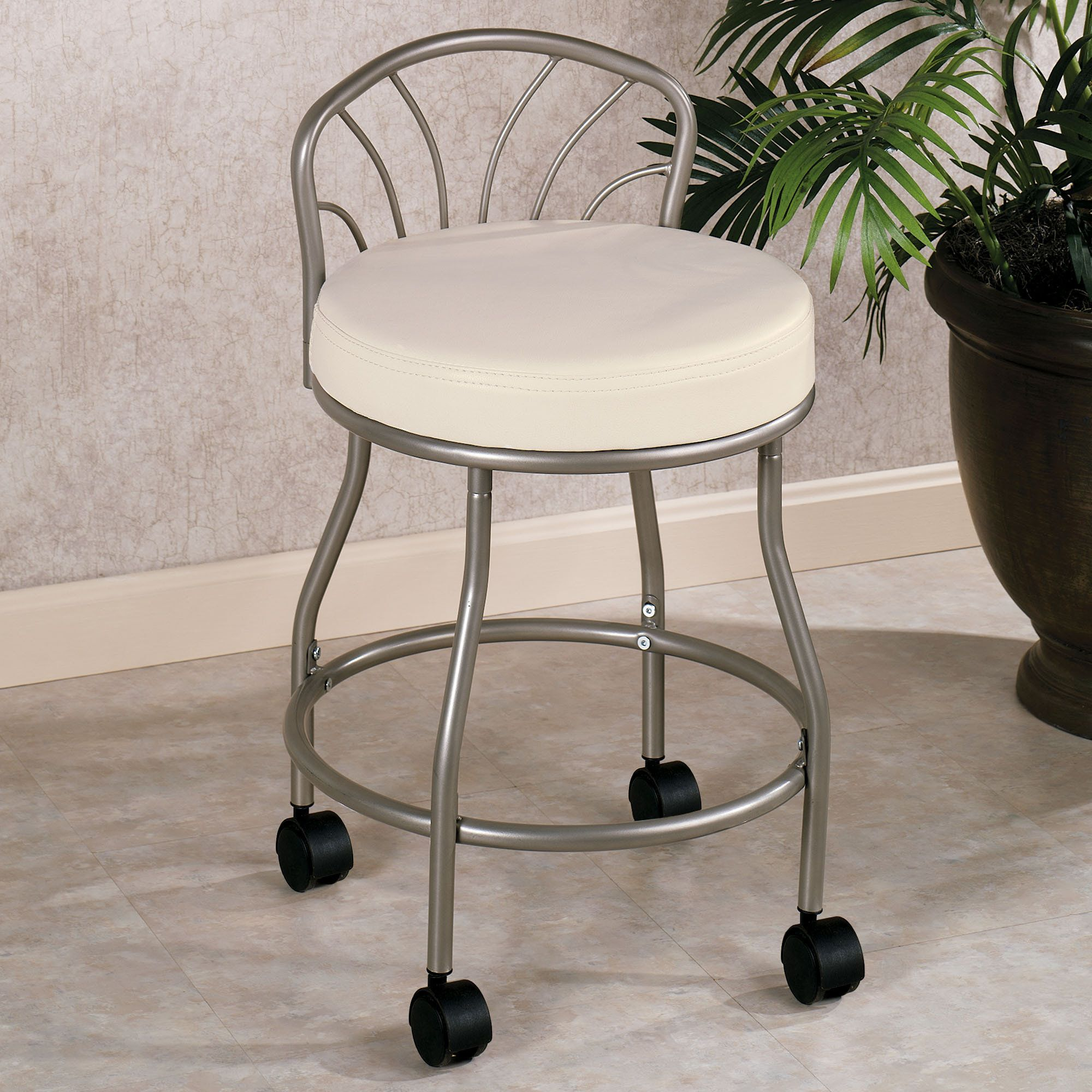 Flare Back Powder Coat Nickel Finish Vanity Chair With Casters
