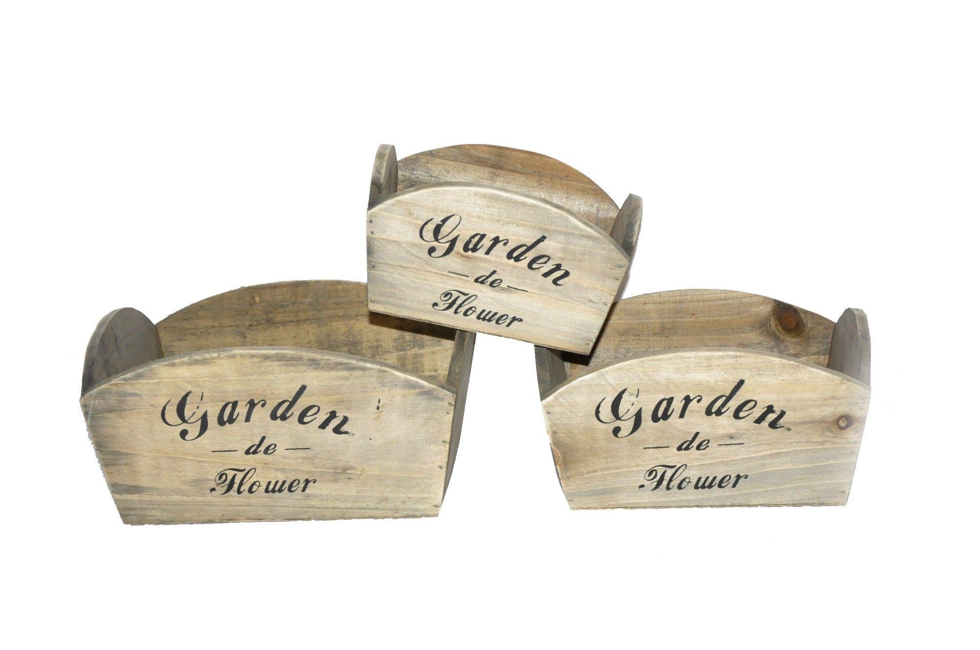 3 piece rectangular planter box set with images