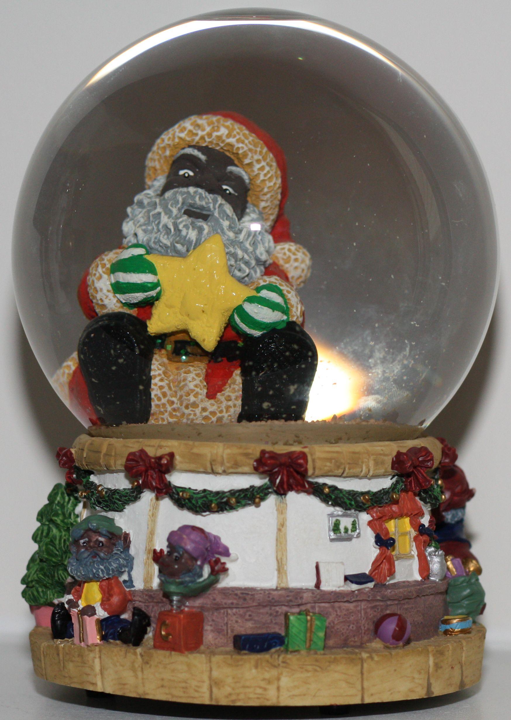 Black African American Santa Snow Globe Black Santa Black Christmas Santa Snow Globe