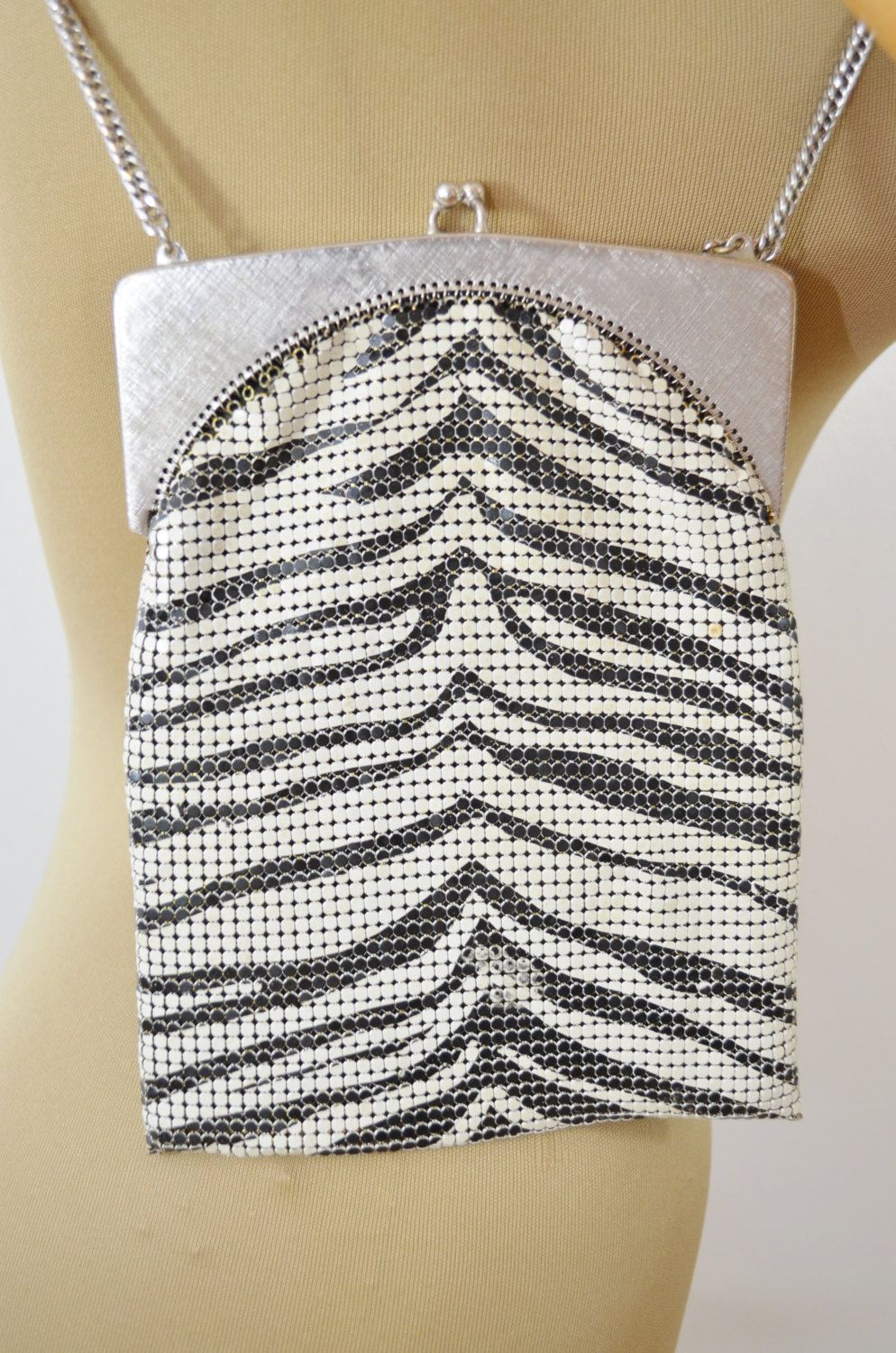 6e4e5565baed5 Vintage Zebra Print Mesh Purse by Whiting and Davis with Long Chain Strap  Art Deco by ilovevintagestuff on Etsy