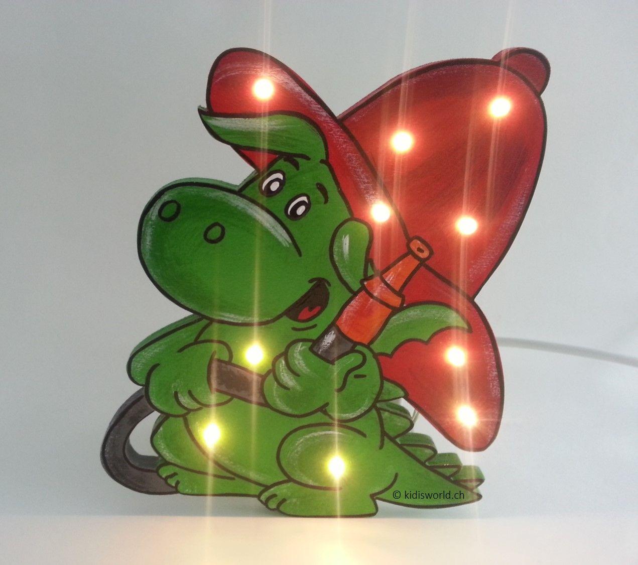 Schlummerlampe Grisu leuchtend  Weihnachtsdeko basteln, Kinder