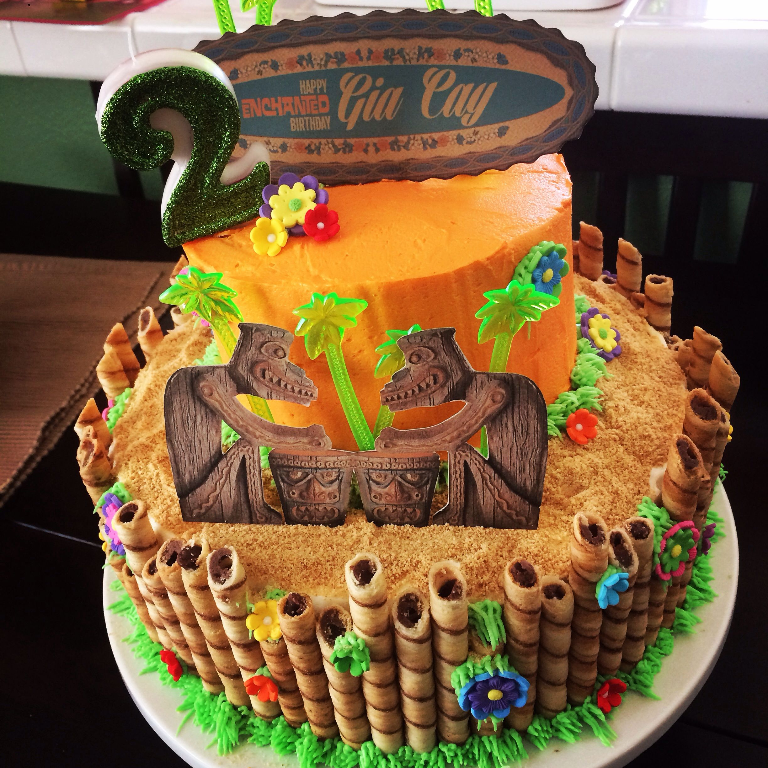 Pinterest inspired Enchanted Tiki Room cake for my daughters 2nd