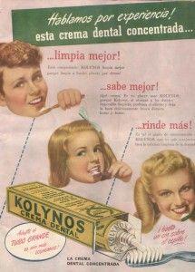 publicidad original de la pasta dentífrica Kolynos, publicada en España en una revista de 1946.
