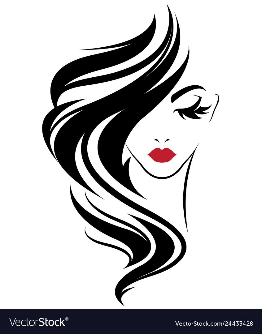 Illustration Of Women Long Hair Style Icon Logo Women On White Background Vector Download A Free Preview Or In 2020 Hair Logo Makeup Logo Design Makeup Artist Logo