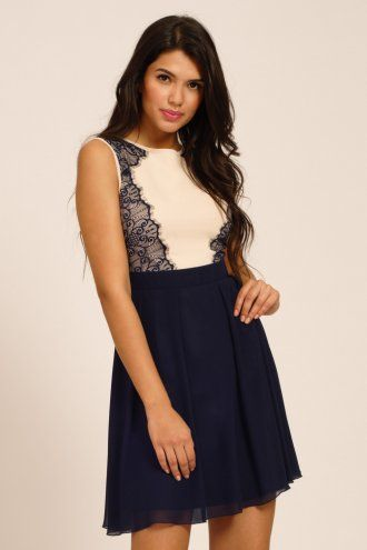 a7a6be9f85d Little Mistress Cream & Navy Lace Panel Contrast Fit & Flare Dress ...