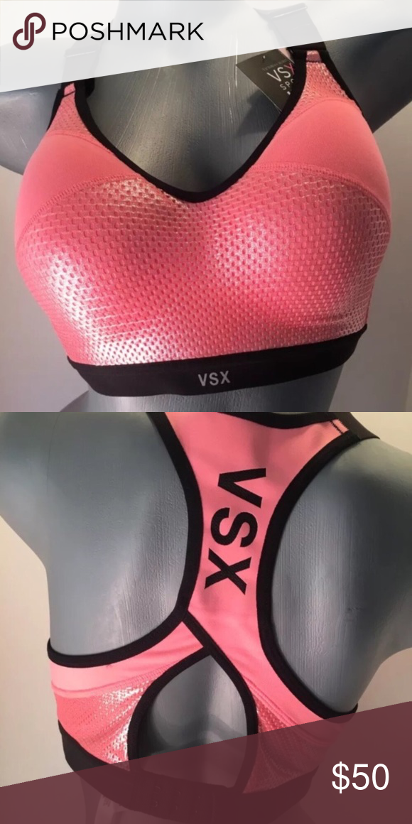 fd94e62d439 Victoria s Secret Incredible Sports Bra NWT - Incredible By Victoria s  Secret Sport Bra Color  Coral and Black Size  36C • Maximum Support •  Cushioned ...