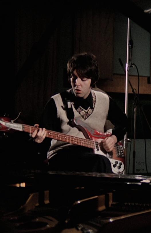 Paul McCartney And His Rickenbacker Bass During The Recording Of Hey Bulldog 1968