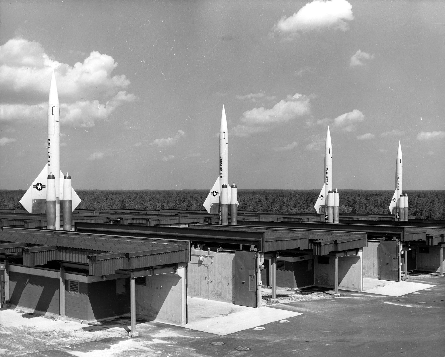 Four Of 56 U S Air Force Bomarc Im 99a Nuclear Antiaircraft Missiles Emplaced At A