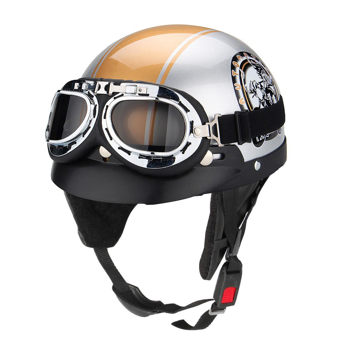 Motorcycle open face safety helmet with sun visorgoggles