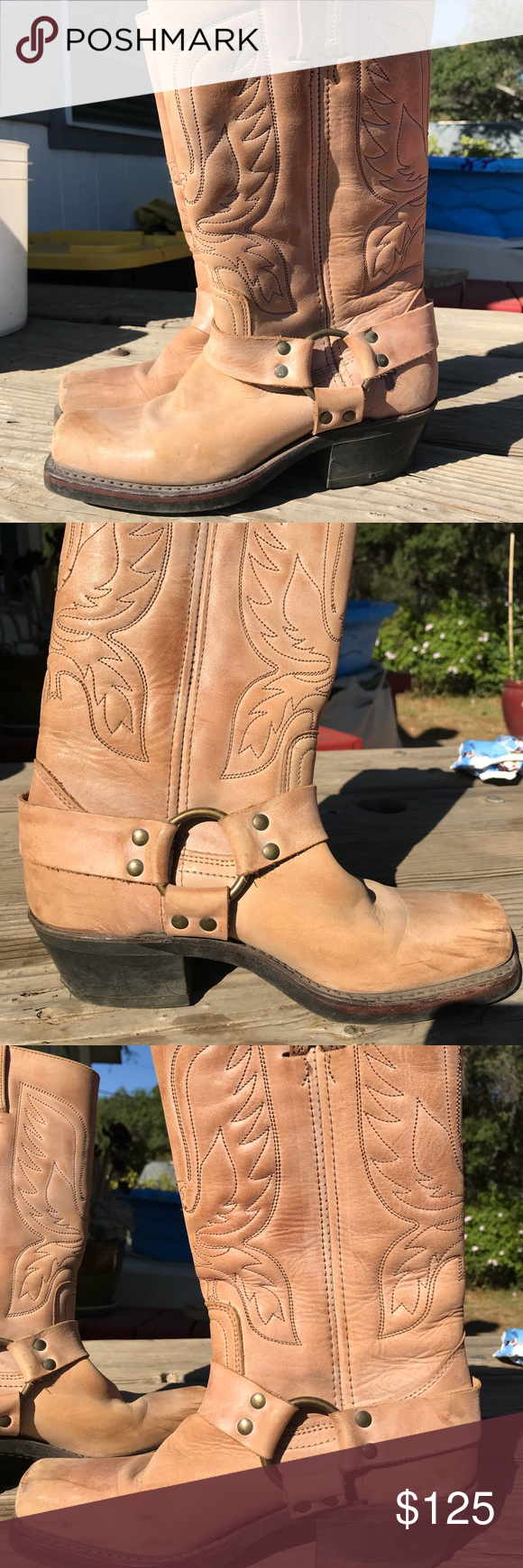 af5b16480de Frye boots Rare eagle embroidered harness Frye Western/Cowgirl/Biker ...