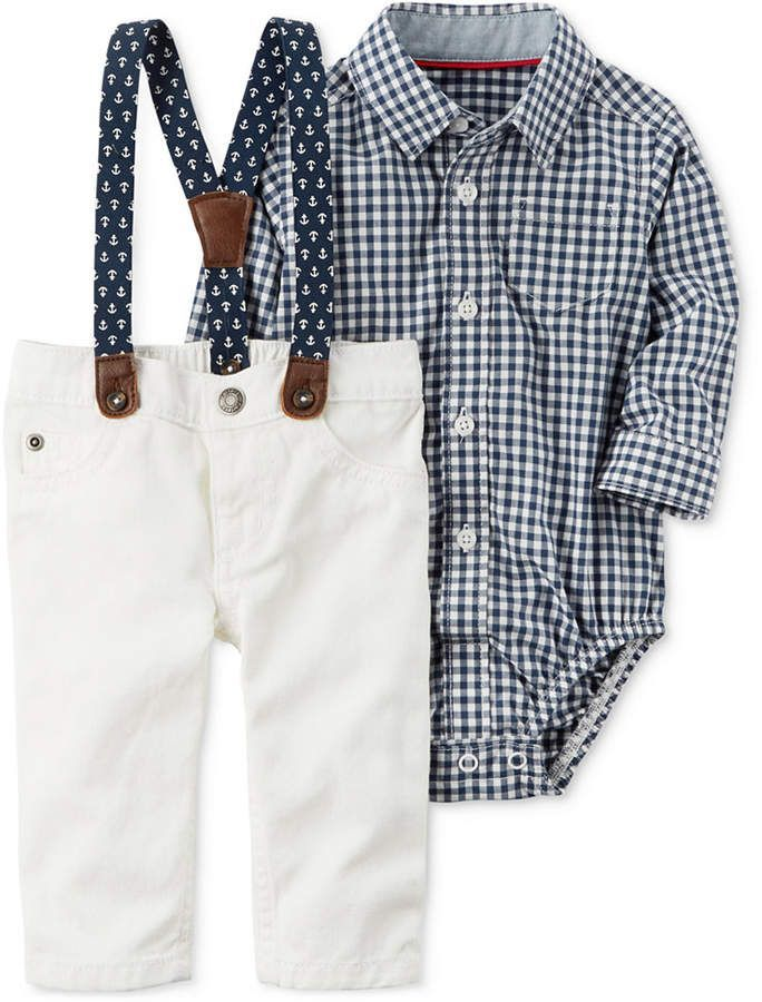 1b7bbf16586e8 He'll be totally dapper in this white pant and blue check shirt outfit!  Carter's check-print bodysuit and pair of coordinating dress pants get the  perfect ...