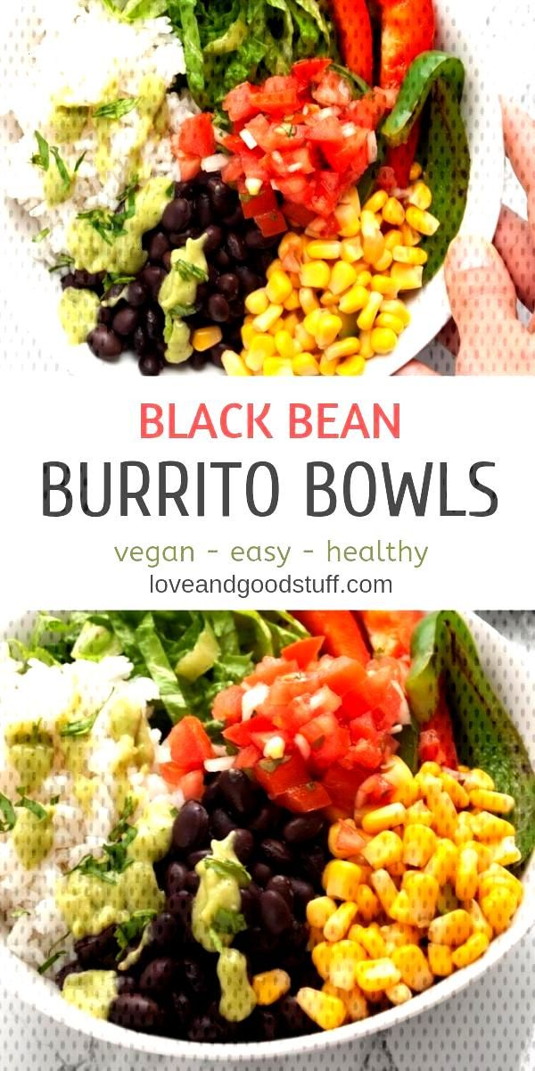 These easy black bean burrito bowls are a healthy vegan meal that you can have on the table in unde