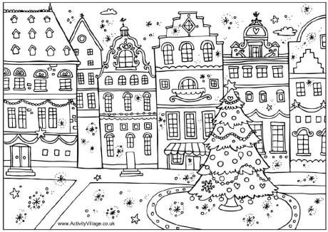 Christmas Street Colouring Page Coloriage Noel Pages De