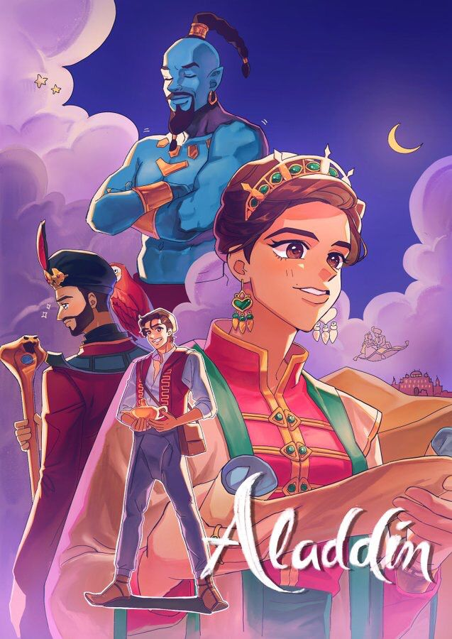 2019 Aladdin in anime style. Cute disney, Disney aladdin