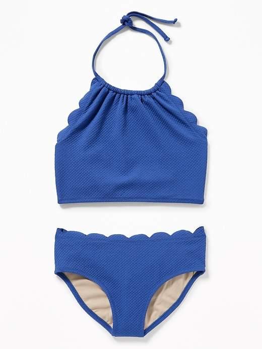 c2690fe48f Old Navy Girls' Textured Scalloped-Edge Tankini Swim Sets Blue My ...