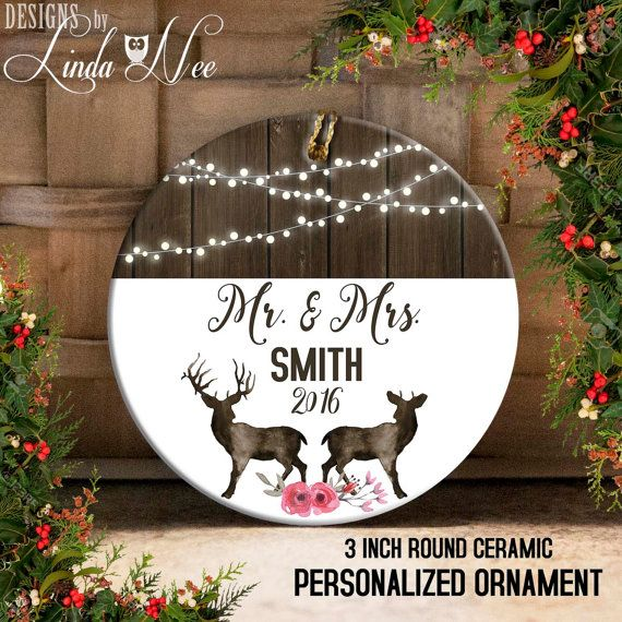Mr and Mrs Personalized Christmas Deer Ornament, Wedding Ornament ...