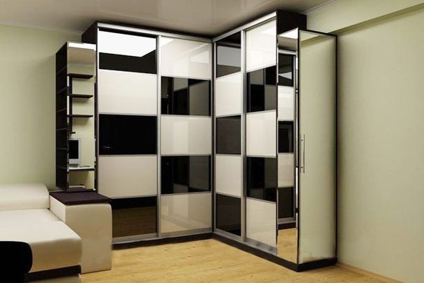 Elegant Furniture Bedroom Design With Corner Wardrobe Black White Checker Pattern Sliding Door On The Hardwood Flooring