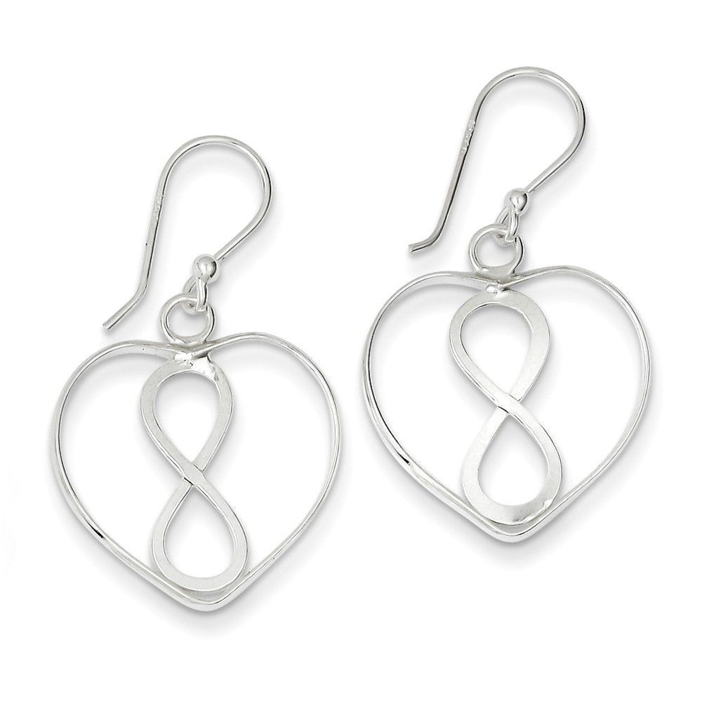 Sterling silver open heart with infinity symbol dangle earrings sterling silver open heart with infinity symbol dangle earrings buycottarizona Gallery